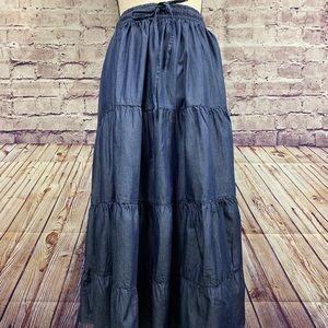 Linear Blue Boho Embellished Maxi Skirt